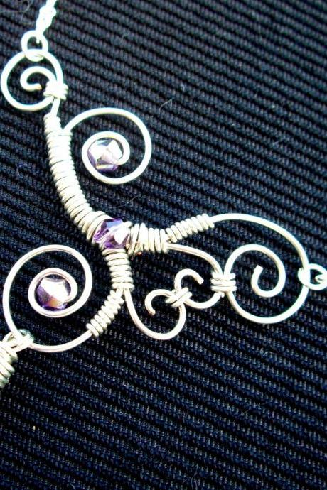 Wire Wrapped Necklace Celtic Swarovski Crystal