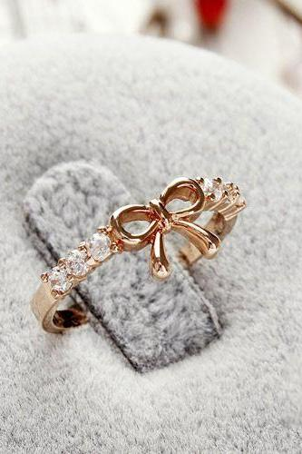 Korean Style Set Auger Bowknot Ring