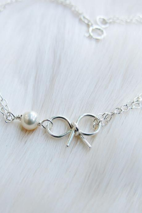 Sterling Silver Freshwater Pearl Bow Bracelet, Bridesmaid Bracelet, Tie the Knot Bracelet, Wedding Party Jewelry, Bridal Party Jewelry