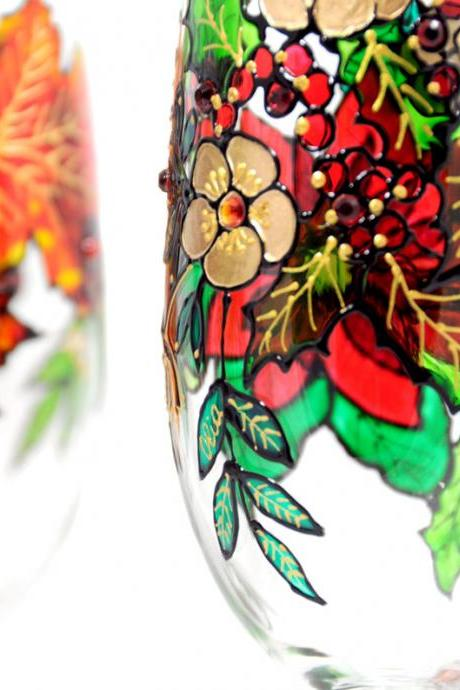 Hand Painted Glass, Winter, Seasonal Collection