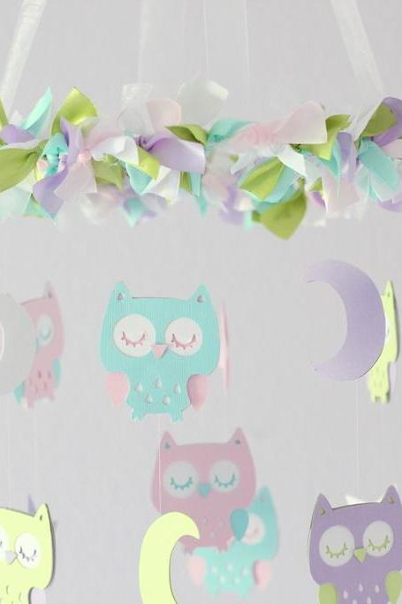 Owl Nursery Mobile in Lavender, Pink, Green & Tropical Blue