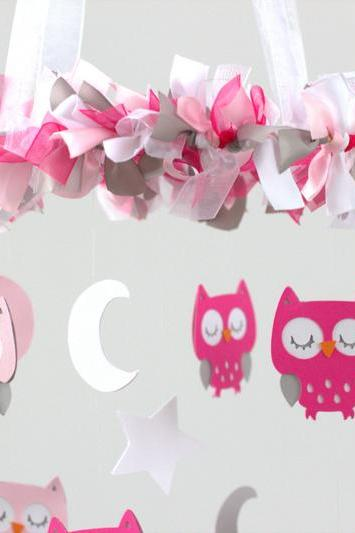 Owl Nursery Mobile in Hot Pink, Baby Pink, Gray & White