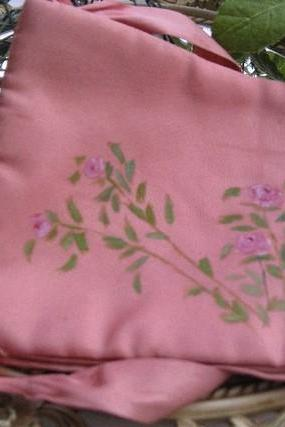 Vintage Pink Satin Hankie Keeper with Hand painted Roses