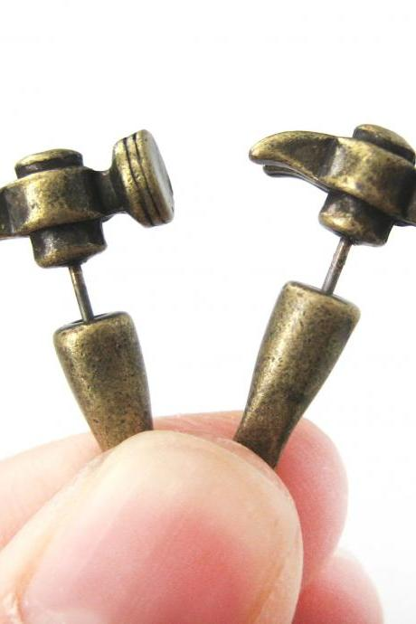 3D Fake Gauge Realistic Hammer Tool Stud Earrings in Bronze for Men and Women