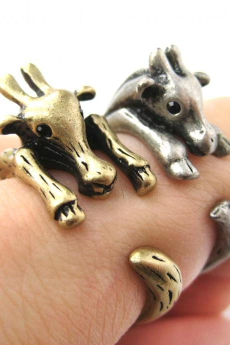 Large Giraffe Animal Wrap Ring in Brass Sizes 4 to 9 US Realistic and Cute!