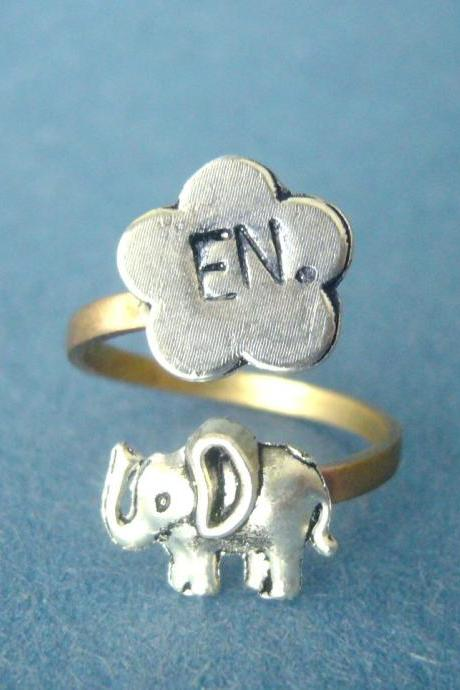 personalized elephant ring with a flower, adjustable ring, animal ring