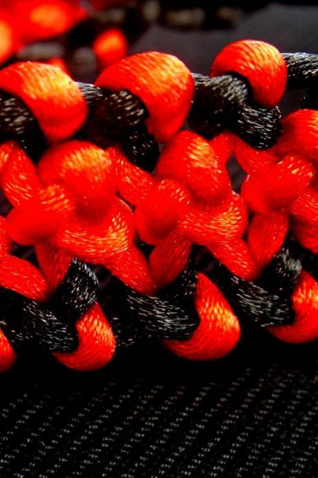 Red Black Hemp Bracelet Satin Cord