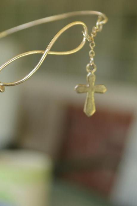 NEW. Silver or Gold Infinity and Tiny Silver or Gold Cross Bangle Bracelet.