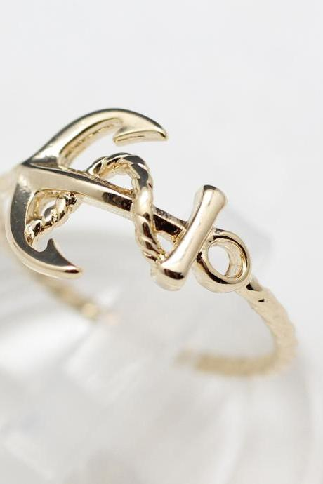 Cute and Simple Anchor ring in gold