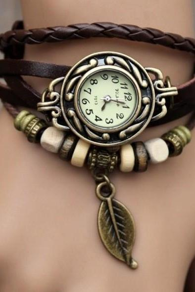 Handmade Vintage Style Leather Band Watches Woman Girl Lady Quartz Wrist Watch Dark Brown