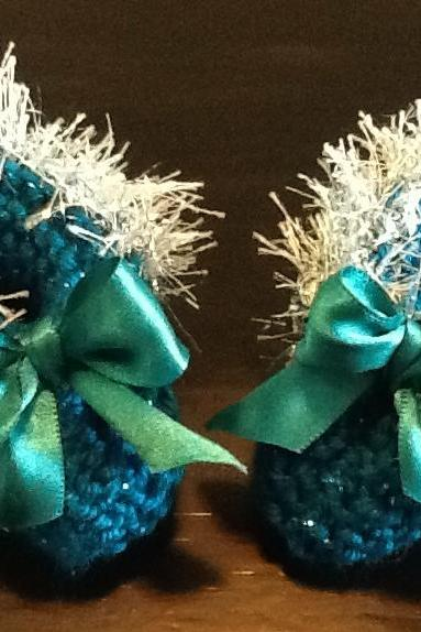 Silver Trimmed Delicate Handmade Sparkling Dark Teal Baby Booties
