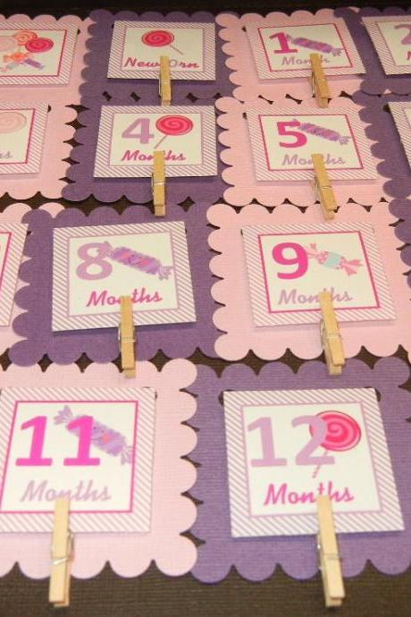 First Year Photo Mini Clips, First Year Banner, Candy Land Birthday Party, Any Theme Hot Pink and Purple