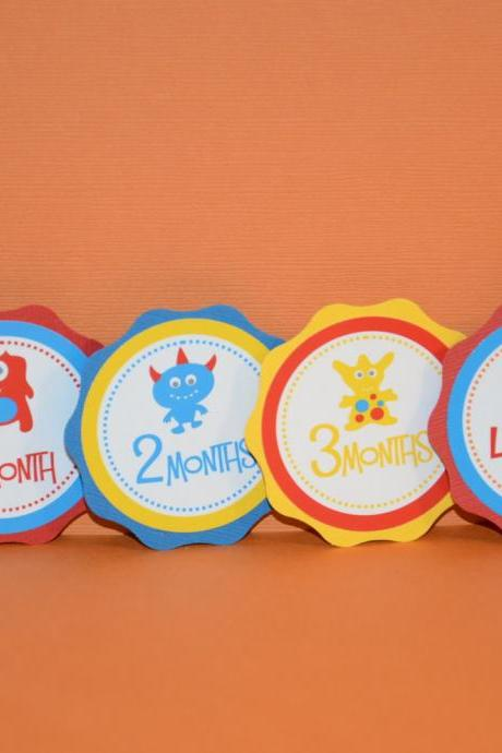 First Year Photo Clips, First Year Banner, Monster Birthday Party, Red, Blue and yellow