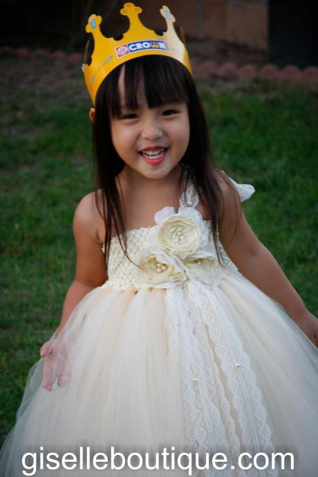 Flower Girl TuTu Dress. Ivory and Beige with 3 Roses TuTu Dress.Wedding . Birthday