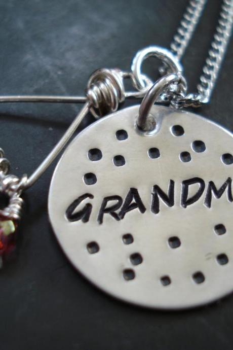 Personalized Sterling silver charm necklace, hand stamped, sterling silver handmade necklace Grandmothers Necklace