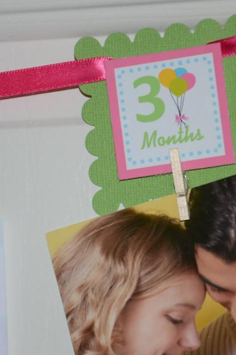 First Year Photo Clips, First Year Banner, Balloons Birthday Party, Any Theme