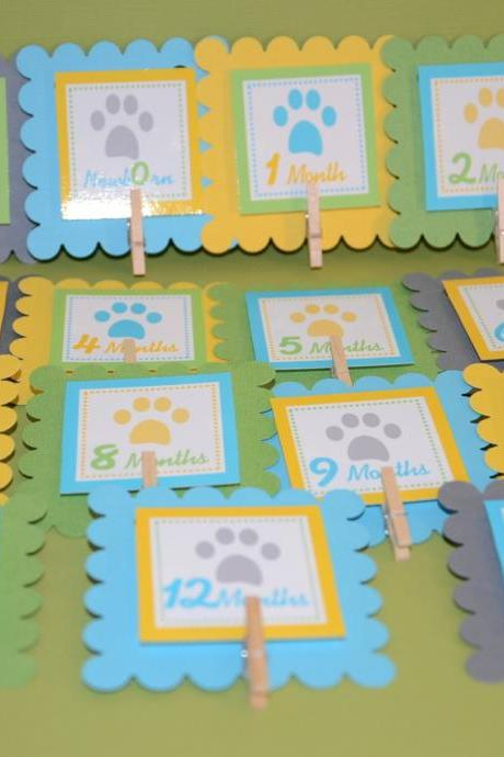 First Year Photo Clips, First Year Banner, Dog Theme, Yellow, Turquoise Blue, Green and Light Grey