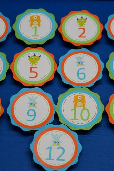 First Year Photo Clips, First Year Banner, Monster Birthday Party, Any Theme