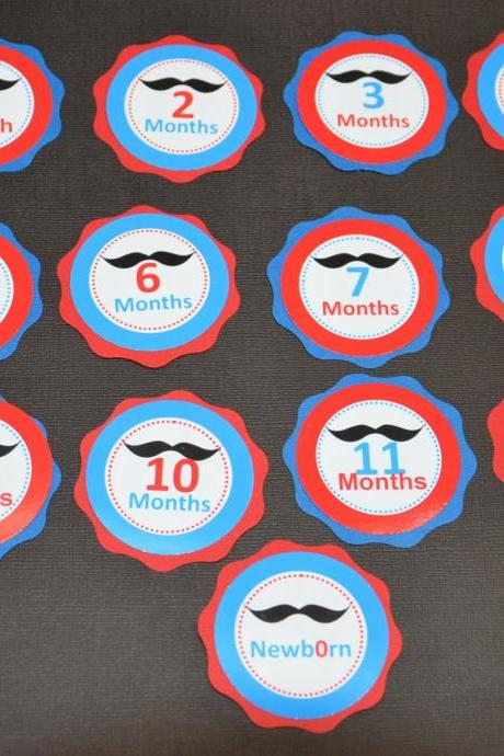 First Year Photo Clips, First Year Banner, Mustache Birthday Party, Any Theme