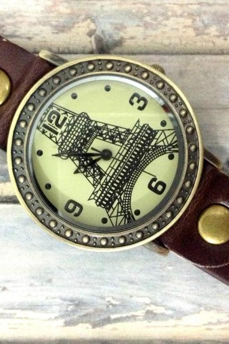 Handmade Vintage Eiffel Tower La Tour Analog Elegant Watches Leather Woman Girl Quartz Wrist Watch Dark Brown