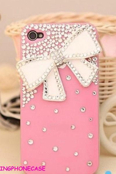 iphone case, iphone 5 case, iphone 5G case, White bow iPhone 5 case, bling iPhone 5 case, iPhone 5 Case Pink, Crystal iphone 5 case cover,iphone 5s case,bling iphone 5s case,bow iphone 5s case