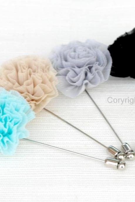 SALE-Chiffon Blossom flower Boutonniere / Buttonhole for wedding,Lapel pin,tie pin