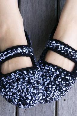 Crochet Mary Jane Slippers in Black and White, Women, House Shoes