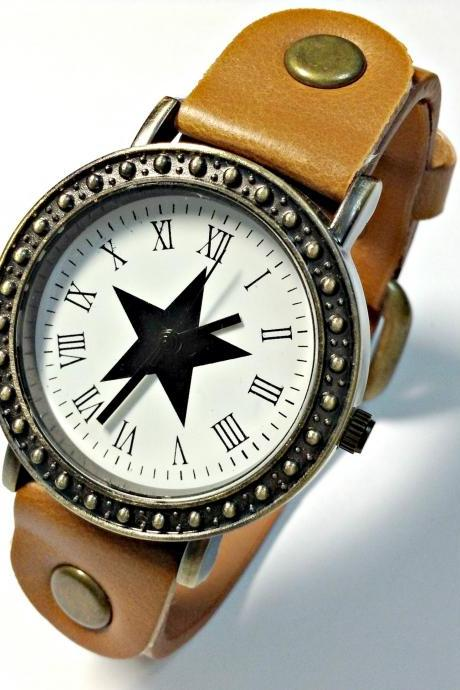 Handmade Vintage Star Face Leather Band Watches Woman Girl Quartz Wrist Watch Light Brown
