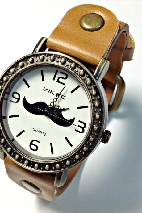 Handmade Vintage Moustache Mustache Face Leather Band Watches Woman Girl Quartz Wrist Watch Light Brown