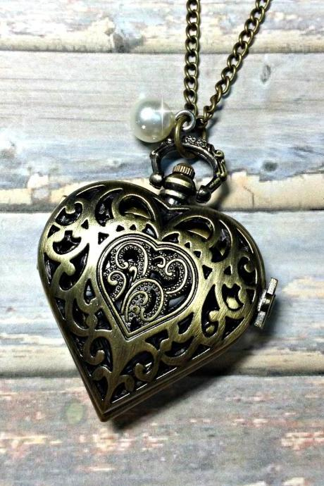 Handmade Vintage Pocket Watch Heart Necklace With Pearl Pendant