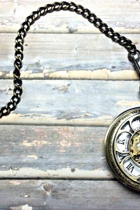 Handmade Vintage Hollow Out Face Mechanical Pocket Watch Roman Numerals Hour Mark Necklace With Pearl Pendant
