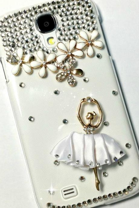 3D Handmade White Ballet Dancing Girl Design Case Cover For Samsung Galaxy S 4 S4 IV LTE i9500 i9505