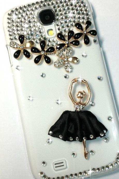 3D Handmade Black Ballet Dancing Girl Design Case Cover For Samsung Galaxy S 4 S4 IV LTE i9500 i9505
