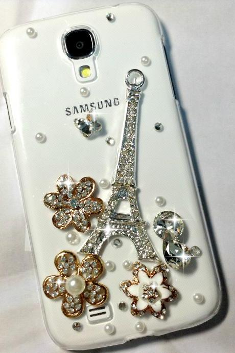 3D Handmade Eiffel Tower Flower Crystal Design Case Cover For Samsung Galaxy S 4 S4 IV LTE i9500 i9505