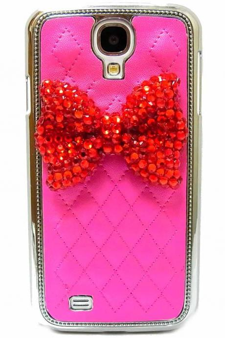 Samsung i9500 i9505 Galaxy S4 LTE case, Metal Leather Samsung i9500 i9505 Galaxy S4 LTE Case, Red Bow Samsung i9500 i9505 Galaxy S4 LTE Case, Samsung i9500 i9505 Galaxy S4 LTE Case Dark Pink A1