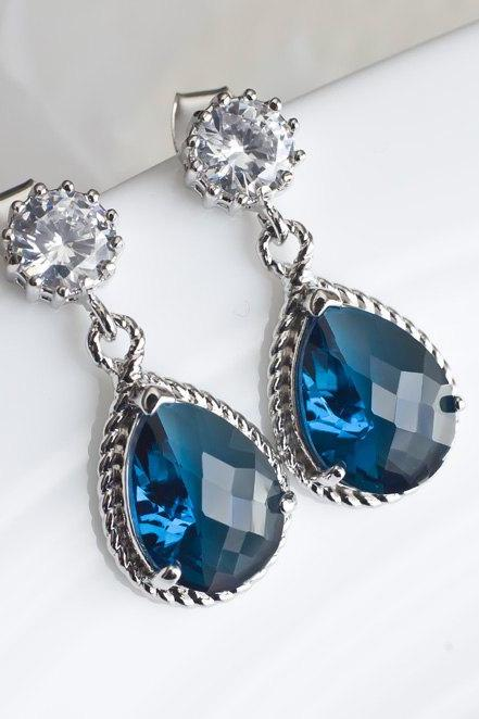 Blue Sapphire Bridesmaids Earrings, Blue Sapphire Teardrop Glass and Round Cubic Zirconia Stud Earrings