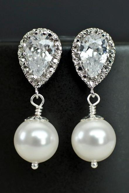 Bridal Earrings Bridesmaid Earrings Rhodium Plated Cubic Zirconia Ear Posts with White/Ivory Swarovski Pearl Drops