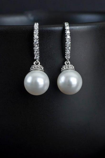 Bridal Earrings, Bridal Pearl Earrings, White/Ivory Swarovski Round Drop Pearl on Cubic Zirconia Ear wires, Wedding Jewellery