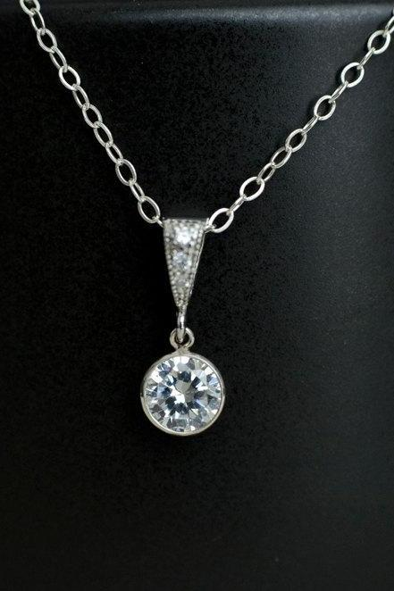 Bridal Necklace, Cubic Zirconia Bezel Pendant, Bridal, Bridesmaid Necklace