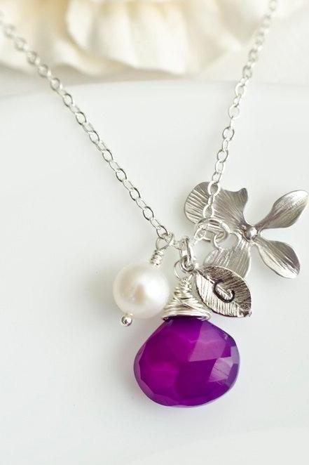 Custom Initial Necklace, Silver Leaf Initial, Purple Chalcedony, Gold Plated Orchid, Freshwater Pearl, Birthday Gift, Bridesmaid Necklace