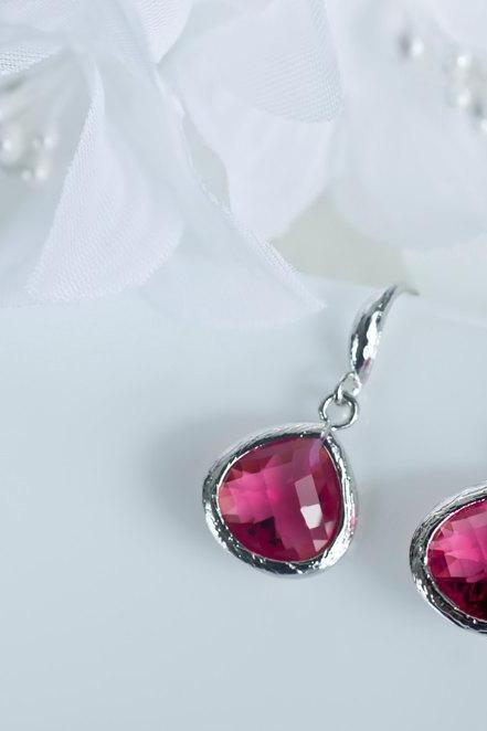 Ruby Earrings, Bridesmaids Earrings, Ruby Glass Earrings, Rhodium Plated Earrwires with Ruby Glass Drops
