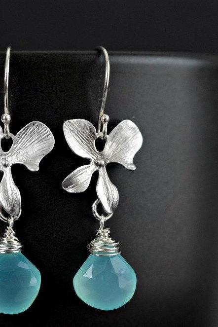 Aqua Blue Chalcedony Silver Orchid Earrings
