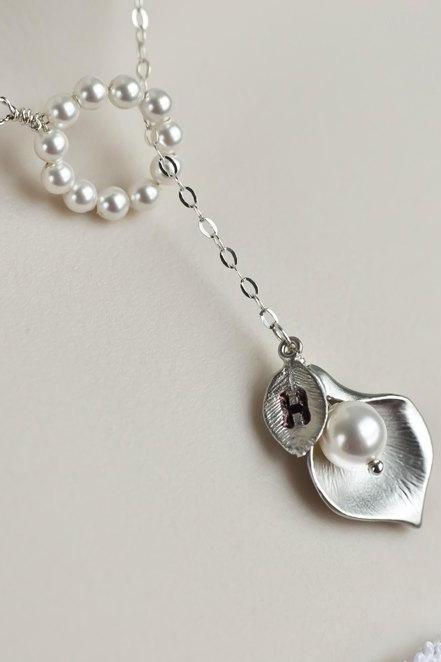 Initial Necklace, Lariat Necklace, Rhodium Plated Cala Lily and Swarovski Pearls Lariat Sterling Silver Necklace