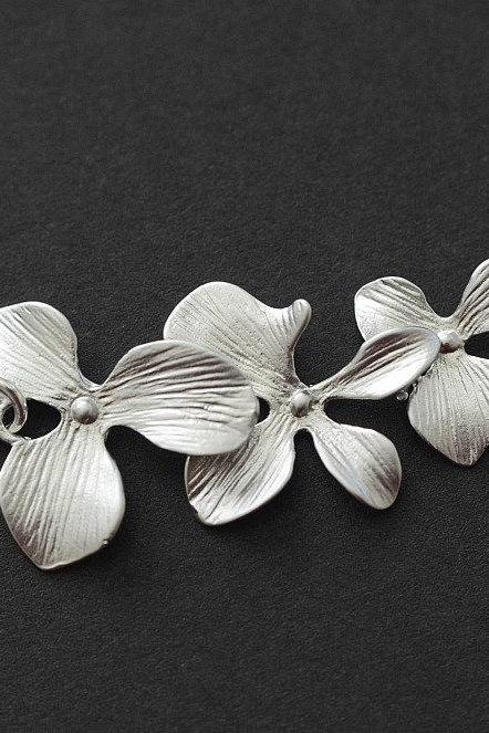 Trio Orchid Flower Necklace, Bridal Wedding Jewelry, Birthday, Bridesmaid Gift