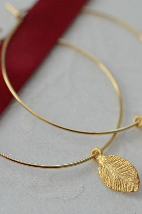 Tiny gold leaf hoops - gold filled hoops - simple, delicate, everyday earrings by CrinaDesign73