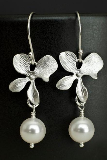 Silver Orchid and White Swarovski Pearl Earrings
