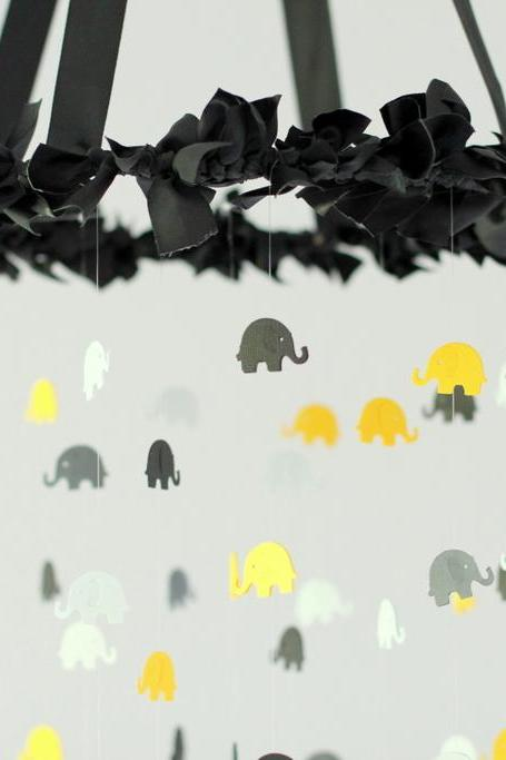 Black, Yellow, Gray, Charcoal & White Elephant Nursery Mobile
