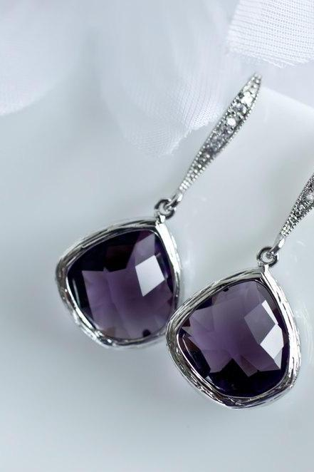 Amethyst Earrings - Purple Amethyst - White Gold Plated Sterling Silver Cubic Zirconia Earrwires with Purple Amehyst Glass Drops