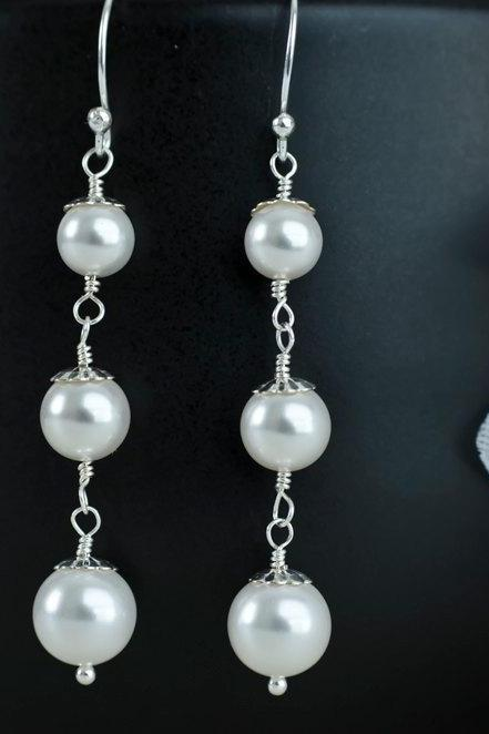 Bridal Earrings, Pearls Earrings, White/Ivory Swarovski Pearls and Sterling Silver Earrings, Wedding Jewelry