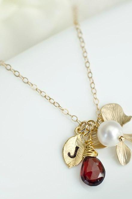 Custom Initial Necklace, Gold Plated Leaf Initial, Red Garnet, Gold Plated Orchid, Freshwater Pearl, Birthday Gift, Bridesmaid Necklace